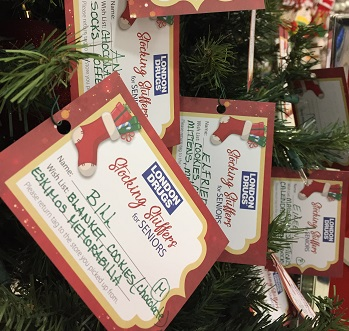 Tags hanging from Christmas Tree
